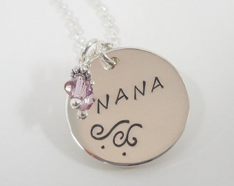 Hand Stamped Nana Necklace - Sterling Silver Personalized Custom Jewelry - Necklace for Nana - Grandmother Necklace