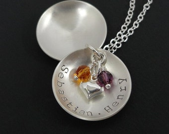 Hand Stamped Necklace - Gift For Grandma - Sterling Silver Personalized Jewelry - Grandmother Necklace - Locket style necklace