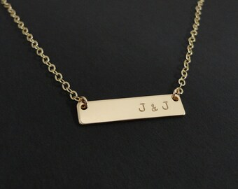 Gold Filled Bar Necklace - Initial Necklace - Personalized Gold Filled Bar Necklace - Personalized Jewelry