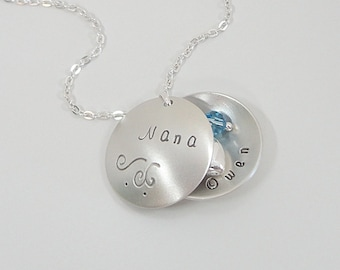 Locket Style Nana Necklace with Birthstones - Sterling Silver Personalized Jewelry - Hand Stamped Custom Necklace - Grandmother Necklace
