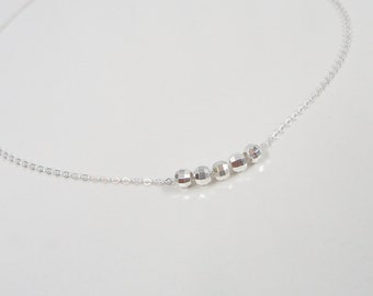 Sterling Silver Minimal Necklace - Simple Everyday Jewelry - Modern Delicate Necklace with Mirror Beads