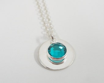 """Sterling Silver Birthstone Necklace - 1/2"""" Disc - Personalized Jewelry - Mothers Necklace - Birthstone Jewelry"""