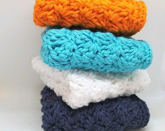 Set of 4 Cotton Washcloths  - Orange, Turquoise, Navy and White -  Soft Cotton Washcloths - Summer Beach Decor - Crochet Facecloths