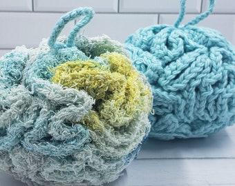Set of Two Washable Cotton Bath Puffs
