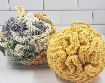 Washable Cotton Bath Puff Set - 1 Soft, 1 Exfoliating