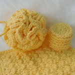 Spa Bath Gift Set in your choice of color - Crochet Bath Puff - Home Spa Accessories - Cotton Anniversary Gift for Her