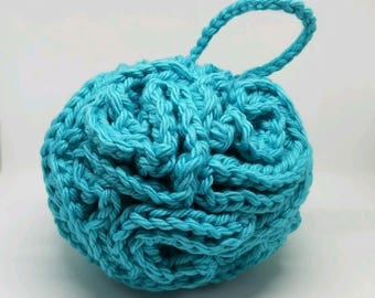 Cotton Bath Puff, your choice of color - Washable Shower Pouf - Cotton Bath Sponge - Gifts for Her