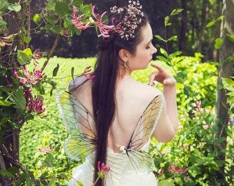 Vintage 'Plain' Iridescent Fairy Wings, small size wearable fairy wings, poseable fairy costume wings