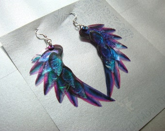 Dragon Scale Wing earrings, Purple, iridescent with sterling silver ear wires, latch back and clip on version available