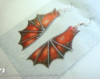 Mini Dragon wing earring 'Dragon Mistress' iridescent with sterling silver ear wires, latch back or clip on version. Choose from 10 Colours