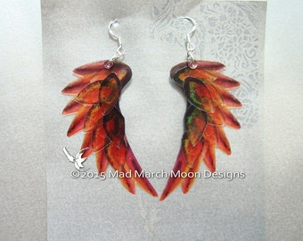 Dragon Scale Wing earrings, Red 'Flame Bird', iridescent with sterling silver ear wires.  Latch back or clip on version available