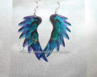 Dragon Scale Wing earrings, Blue, iridescent with sterling silver ear wires, latch back and clip on version available