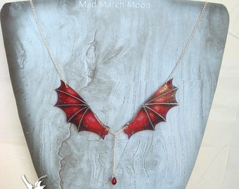 Micro Dragon Wings Necklace, Dragon Mistress Iridescent Statement Necklace 10 colours available