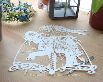 Papercut Template Ramu the Carousel Elephant commercial use, digital download .pdf