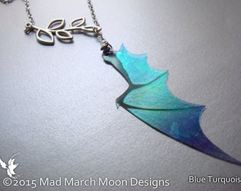 Dragon Wing Lariat Necklace, iridescent transparent dragon wing necklace silver plated statement necklace, choice of colours