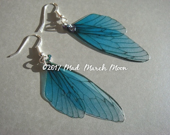 Fairy wing earrings Mini 'Cornflower Crush' , Blue Blush fairy earrings sterling silver ear wires, latch back and clip on version available