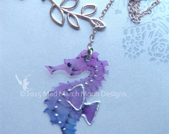Lariat Necklace, Iridescent Seahorse, silver plated statement necklace