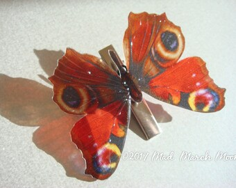 Peacock Butterfly Croc Clip, transparent rich colour, handmade hair accessory single hair grip