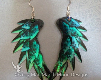 Raven Wing earrings, Black, iridescent with sterling silver ear wires. Latch back or clip on version available