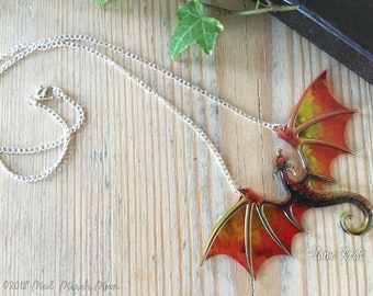 Dragon Necklace, Flame Reds, Acrylic and Acetate necklace, rich transparent iridescent dragon with 22cm silver plated chain.