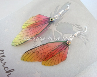 Fairy wing earrings Mini 'Fall Flame', iridescent earrings, sterling silver ear hook, latch back and clip on version available
