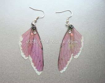 Mini Fairy Wing Earrings, Vintage Rose Blush Pink Glitter iridescent with sterling silver hooks, latch back and clip on version available