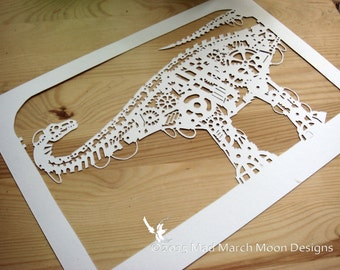 Steampunk Diplodocus papercut Template Personal use instant download pdf