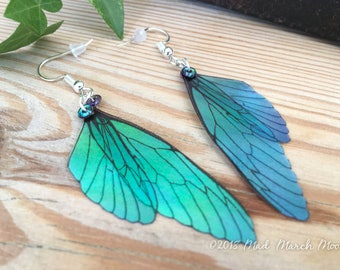 Fairy wing earrings, Mini Blue Green blush, iridescent earrings with sterling silver ear wires, latch back and clip on available