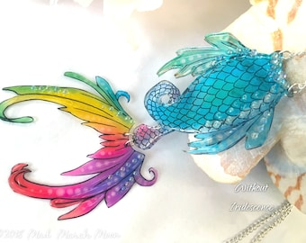 Rainbow Mermaid Tail Necklace, Acrylic and Acetate, with moving fin, unique, choose Iridescent or 'glass' look, sterling silver plated chain