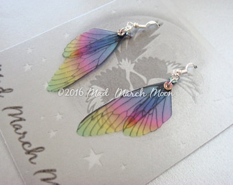 Mini Fairy Wing earrings 'Jelly Tot' , with sterling silver ear wires 6.5cm drop, latch back and clip on version available