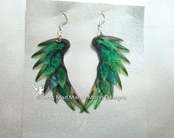 Dragon Scale Wing earrings, Green, iridescent with sterling silver ear wires, latch back and clip on version available