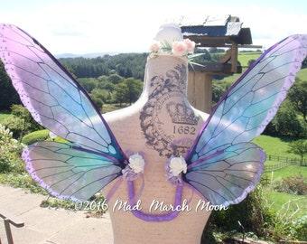 Purple Blush Iridescent Fairy Wings, small size, wearable fairy wings, poseable fairy costume wings