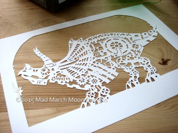 steampunk triceratops papercut template personal use instant etsy
