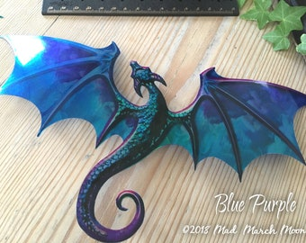 """Dragon suncatcher, stick on dragon, transparent iridescent dragon with suction cup, window decoration 10"""" wingspan. 3 colours available"""