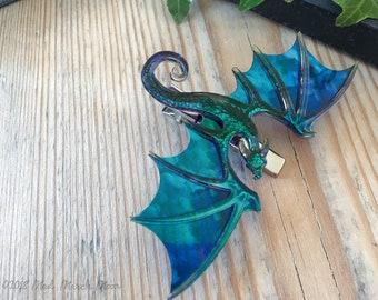 Dragon Hair Clip (crocodile), Various Colours, iridescent shimmering acrylic and acetate, handmade hair accessory single hair clip