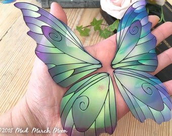Large 'Fantasy' Fairy wings for crafts, iridescent fairy wing pair, 3 colours available, purple, blue and pink large wings for crafting