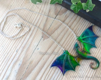 Dragon Necklace, Rainbow Clouds, acrylic and acetate transparent iridescent rainbow dragon pendant with 22cm silver plated chain.