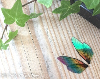 Tiny 'Micro' Rainbow Fairy wing set, iridescent wings with upper and lower pairs Cicada Style for crafts, Nano wings, pixie wings