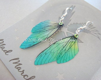Mini Fairy wing earrings 'Absinthe' Acid Drop, with sterling silver ear wires 6.5cm drop, latch back and clip on version available