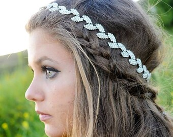 Silver Bridal Headband, Crystal Headband, Hair Jewelry, Wedding Hair Piece, Bridal Headpiece, Wedding Headpiece, Hair Accessories