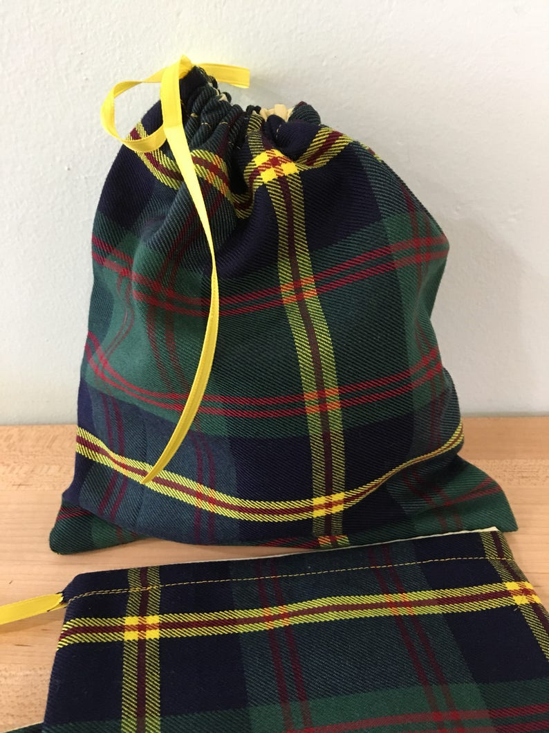 Upcycled From A Kilt Plaid Tartan Ready to Ship 3 Fabric Tartan Gift Bags Gift Card Holder Small Gift Bags