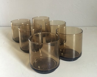 Vintage Barware ~ Whiskey Glasses ~ Brown Glass Barware ~Smoky Glass Cocktail Glasses Set of 6 Bar Glasses