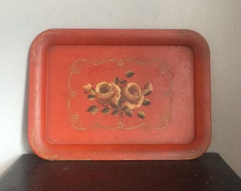 Vintage Red Metal Floral Tray Victorian Floral Tray Serving Tray Cottage Decor