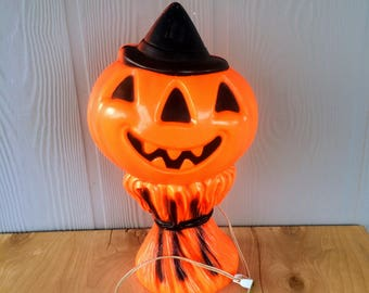 Vintage Halloween Pumpkin Head on Cornstalks. Empire Co. Plastic Blow Mold Halloween Pumpkin.