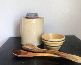Antique Macomb Pottery Canning Jar  Macomb Illinois Stoneware Canning Jar with Zinc Lid