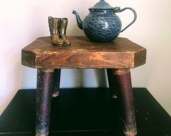Vintage Primitive Wooden Stool Old Wooden Stool Small Wooden Stool