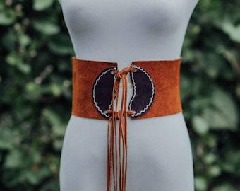 Vintage 70s Suede Tie Waist Belt