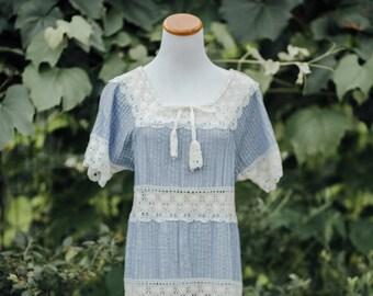 Vintage 60's Baby Blue Lace Mini Dress