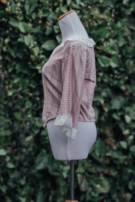 Vintage 70s Lace Prairie Blouse - image 3