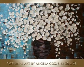 Original Modern  Cream Flowers Acrylic Impasto Thick texture Palette Knife  Painting . Made2Order.